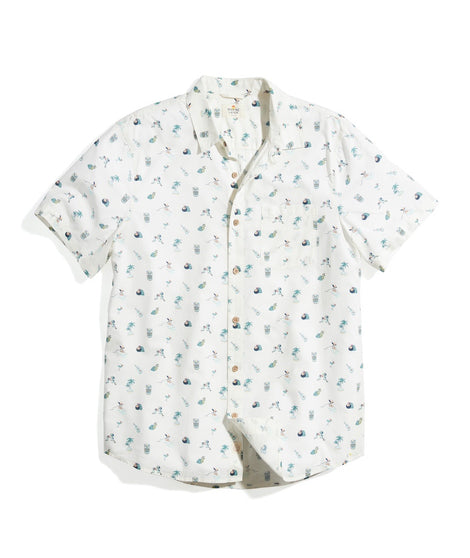 Short Sleeve Cotton Rayon Shirt in Island Multi Print
