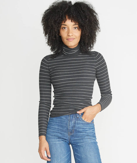 Piper Turtleneck in Charcoal Stripe