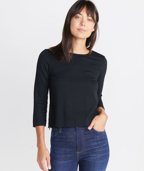 Polly Cropped Tunic in Graphite