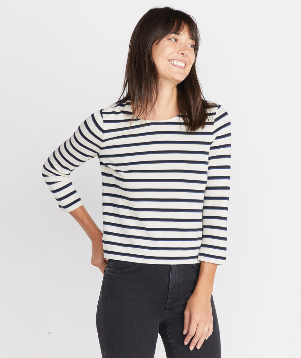 Polly Cropped Tunic in White/Navy Stripe