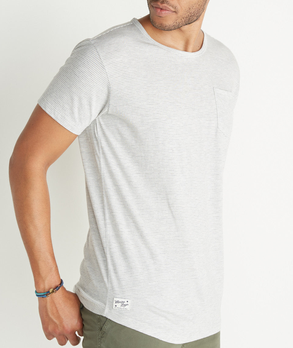 Saddle Pocket Tee in Natural Lafayette Stripe