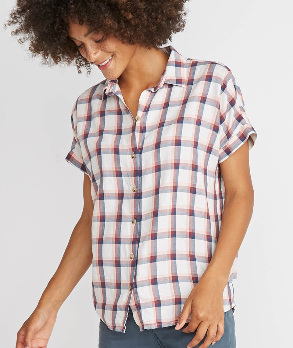 Presley Button Down in Rosewood Plaid