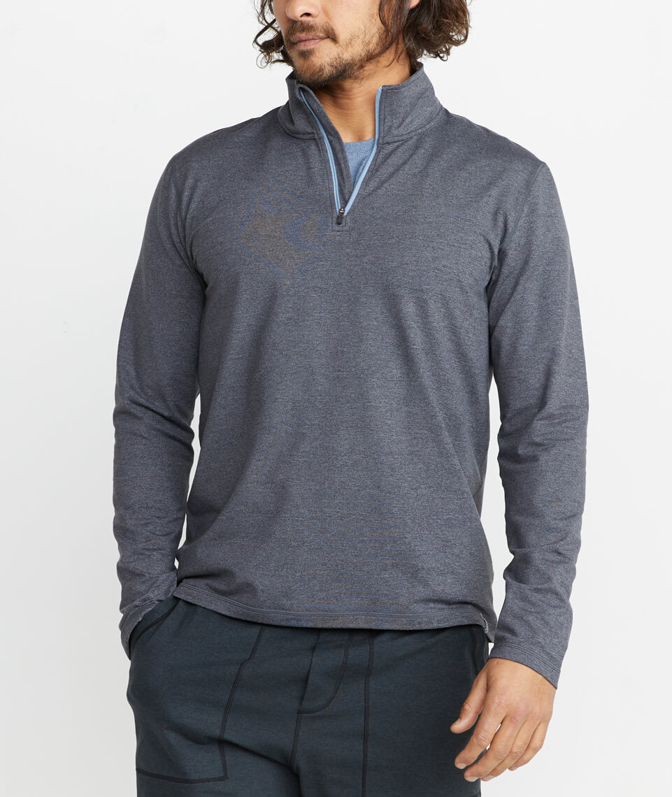 Huntley Sport Quarter Zip in Heather Grey