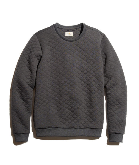 Quilted Crewneck Sweatshirt in Charcoal Heather