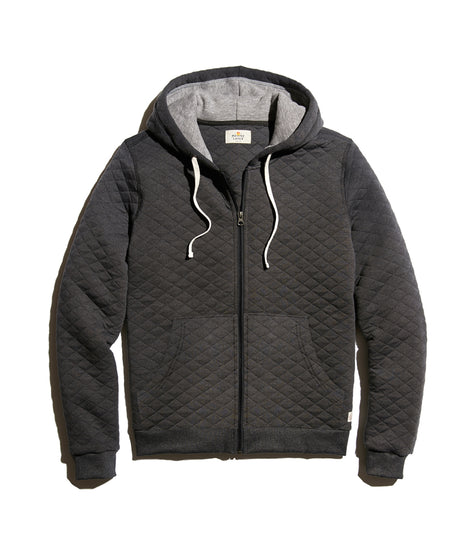 Quilted Zip Hoodie in Charcoal Heather