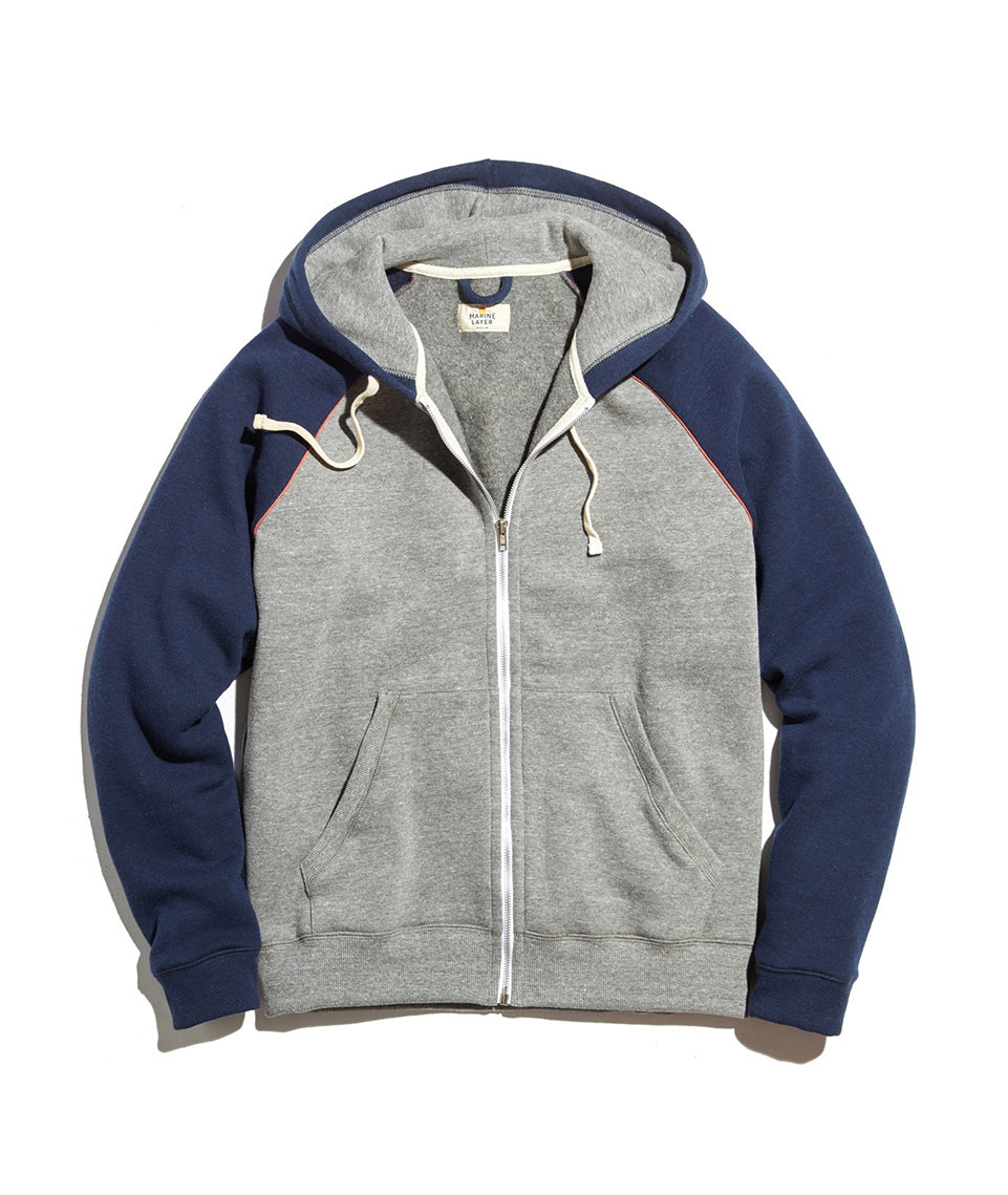 Raglan Zip Hoodie in  Heather Grey/Navy
