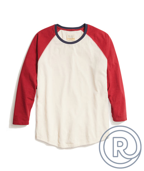 Re-Spun Baseball Raglan in Natural/Syrah