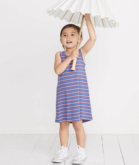 Mini Alana Tank Dress in Faded Dahlia Stripe