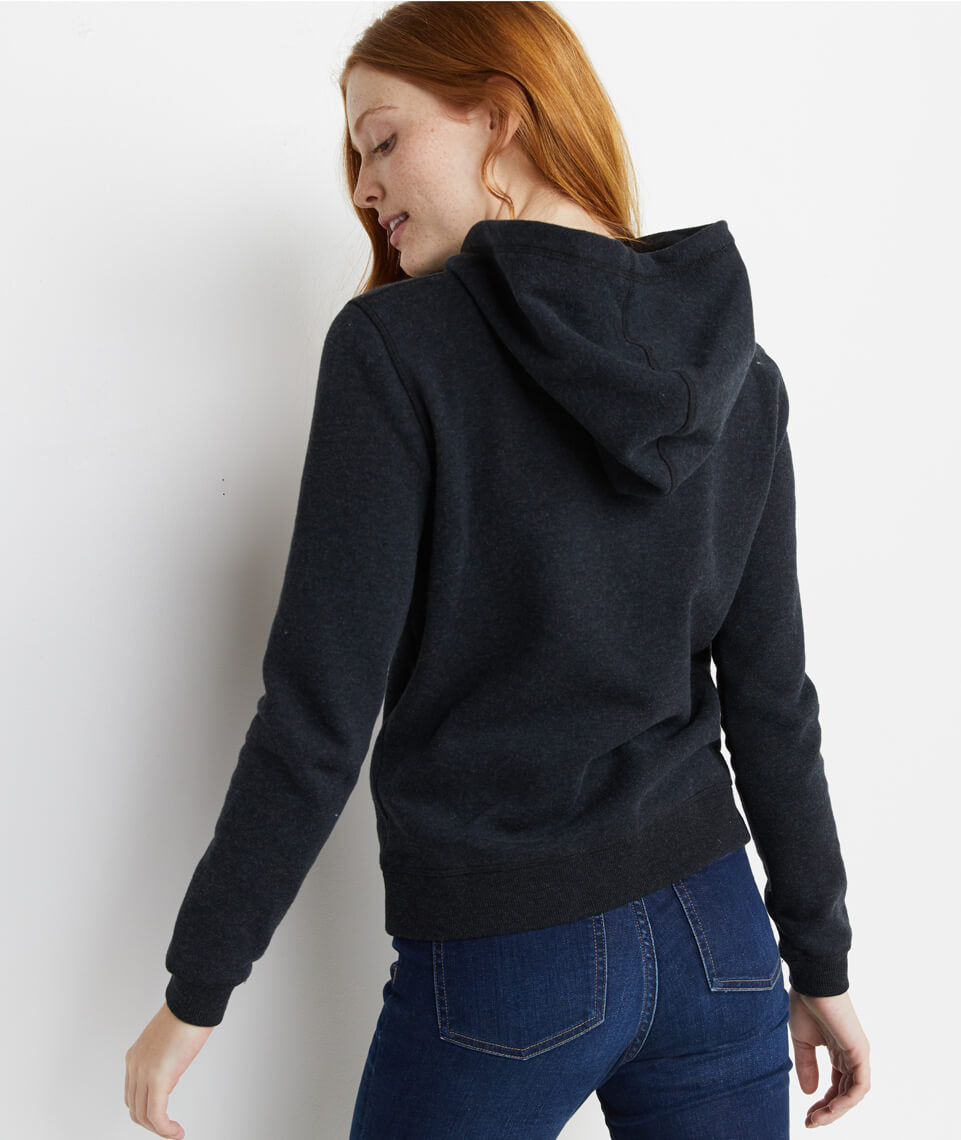 Regina Cowlneck Hoodie in Jet Black Heather