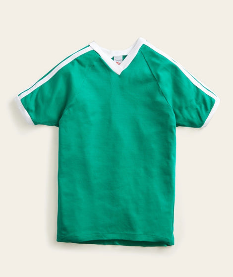 V-Neck Racer Stripe Tee in Green