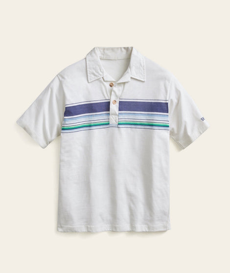 Wood Button Vintage Stripe Polo