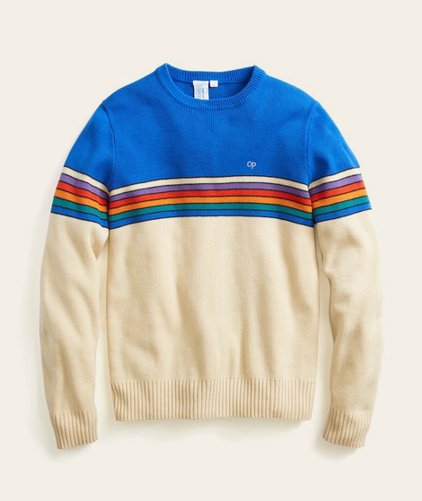 Vintage OP Crew in Blue Rainbow Stripe