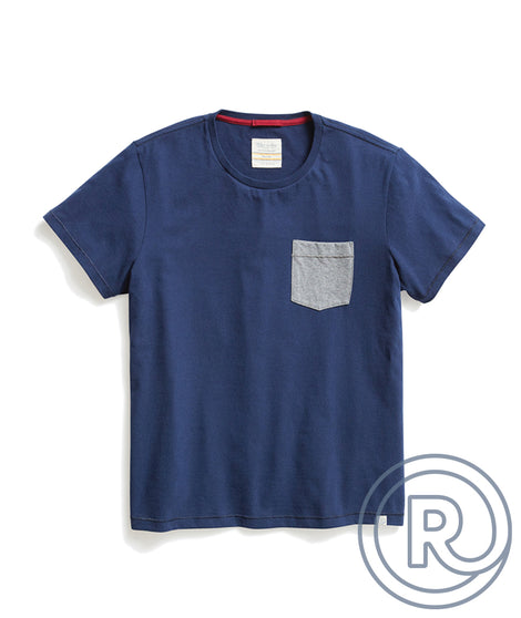 Re-Spun Contrast Pocket Tee in Marino
