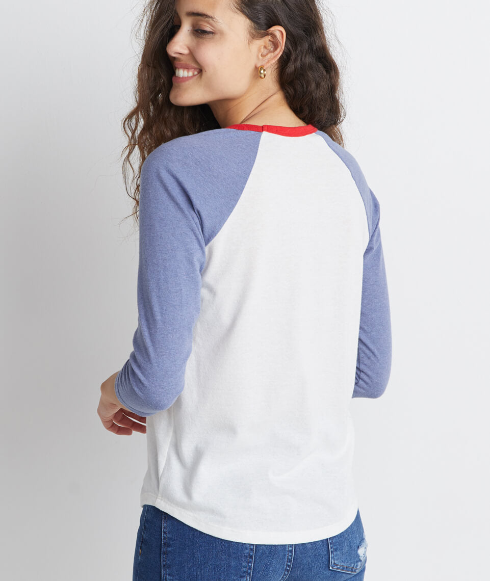 Re-Spun Lightweight Baseball Raglan in Natural/Indigo