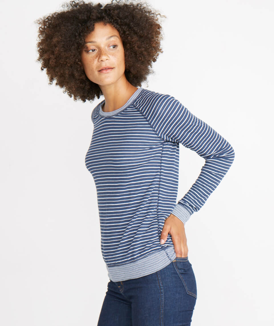 Reversible Raglan in Navy Stripe