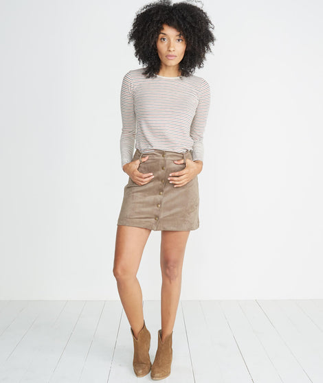 Rosie Suede A-Line Skirt in Birch