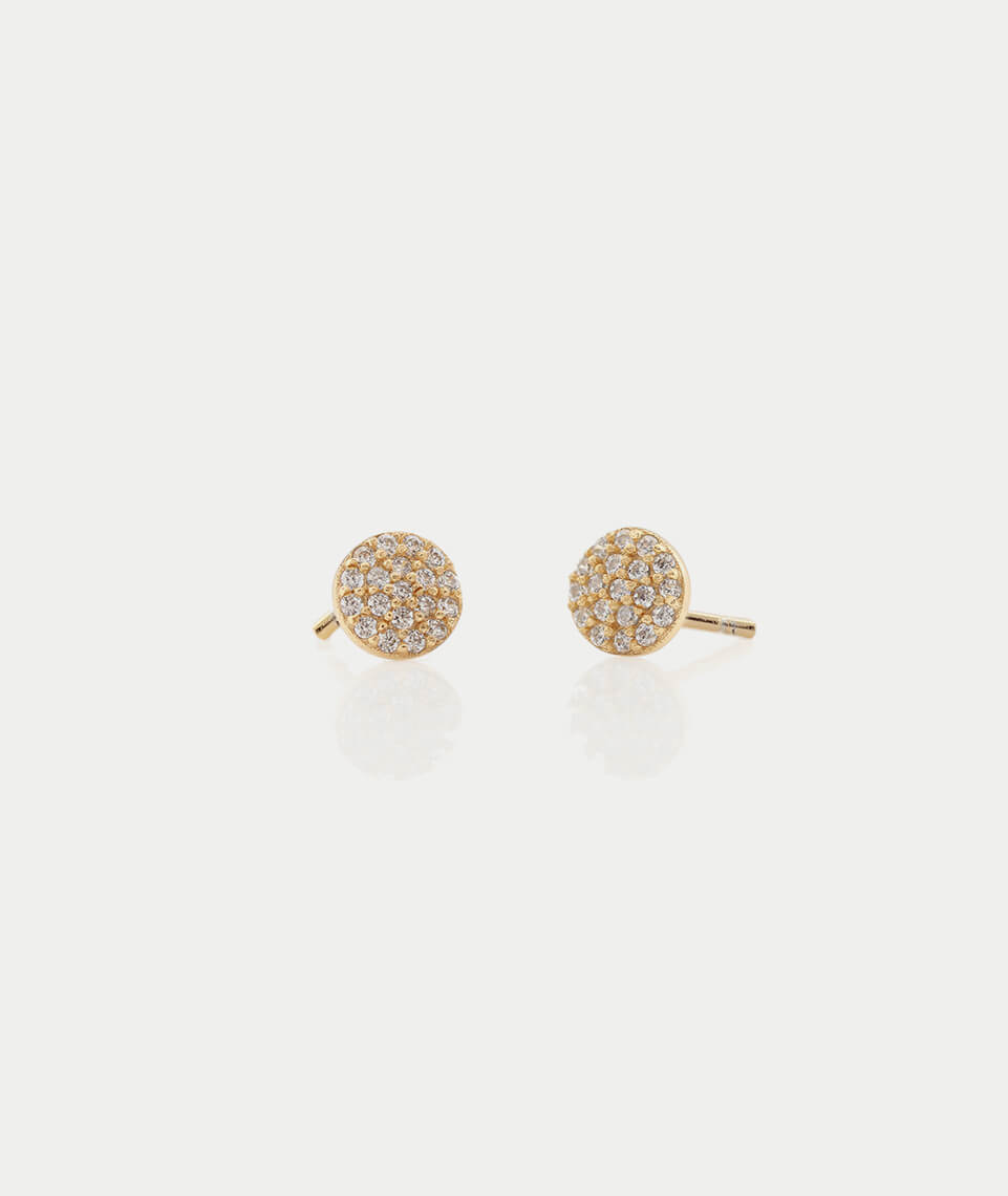 Kris Nations Round Pave Stud Earrings