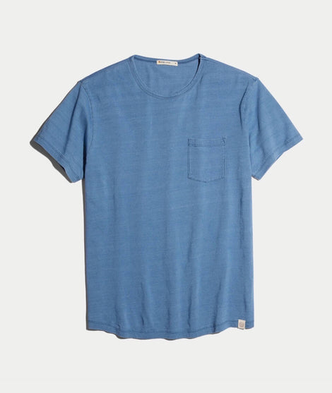 Saddle Pocket Tee in Indigo