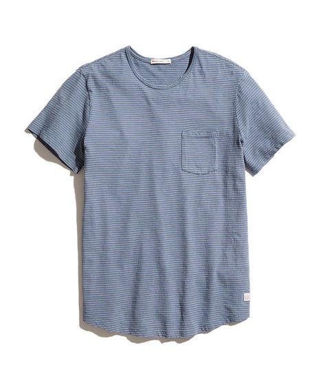 Saddle Pocket Tee in Blue/White Stripe