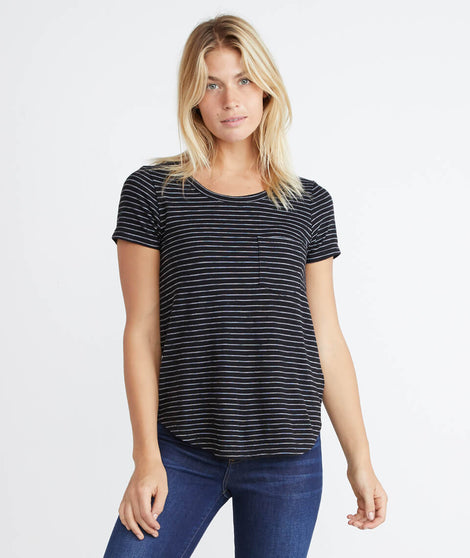 Boyfriend Saddle Tee in Black Stripe