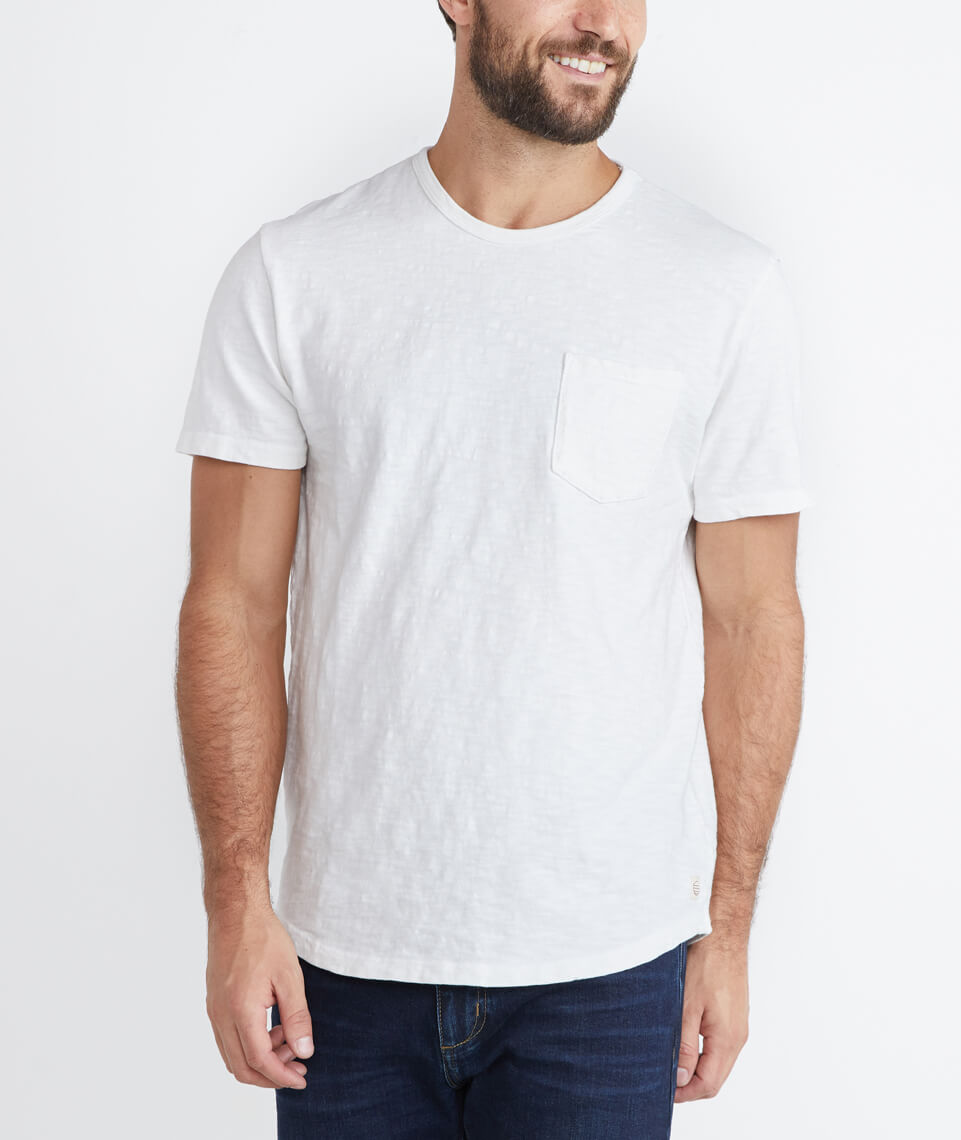 Saddle Pocket Tee in Natural