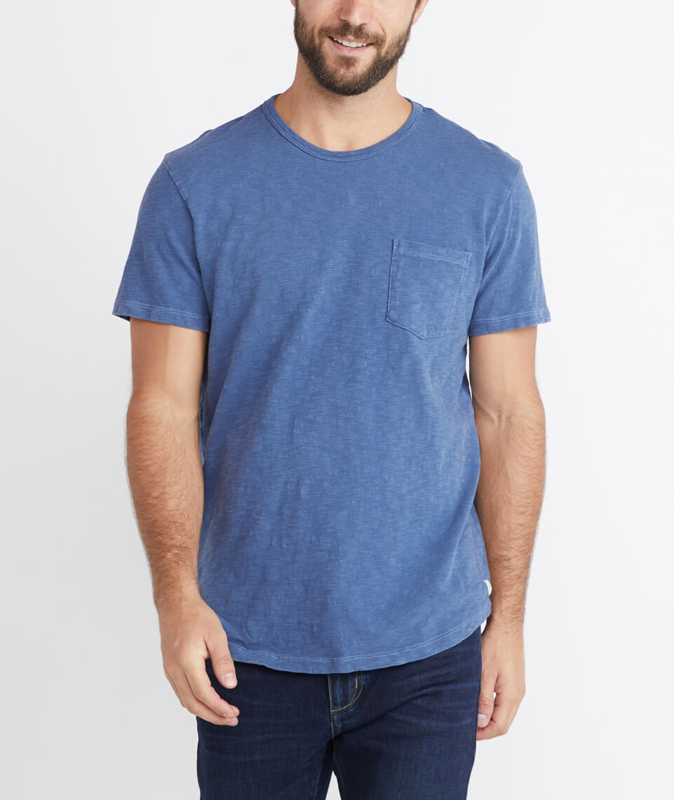 Saddle Pocket Tee in Navy
