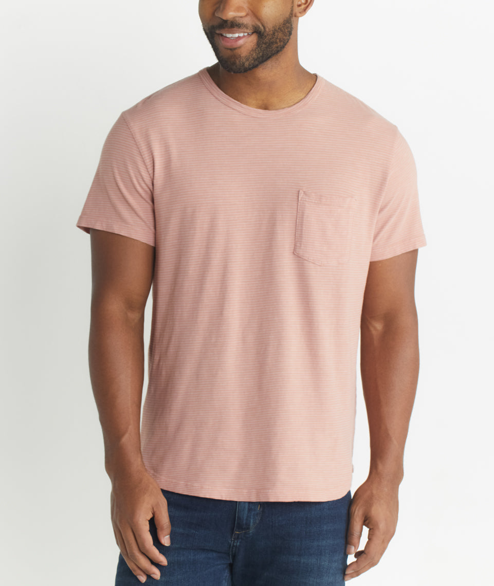 Saddle Pocket Tee in Pink/White Stripe