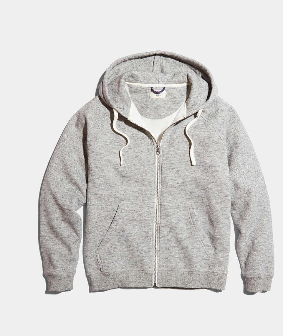 Sherpa Zip Hoodie in Heather Grey