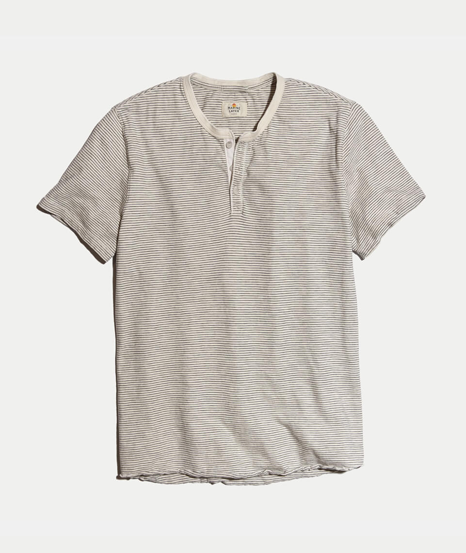 Shortsleeve Henley in Natural/Black
