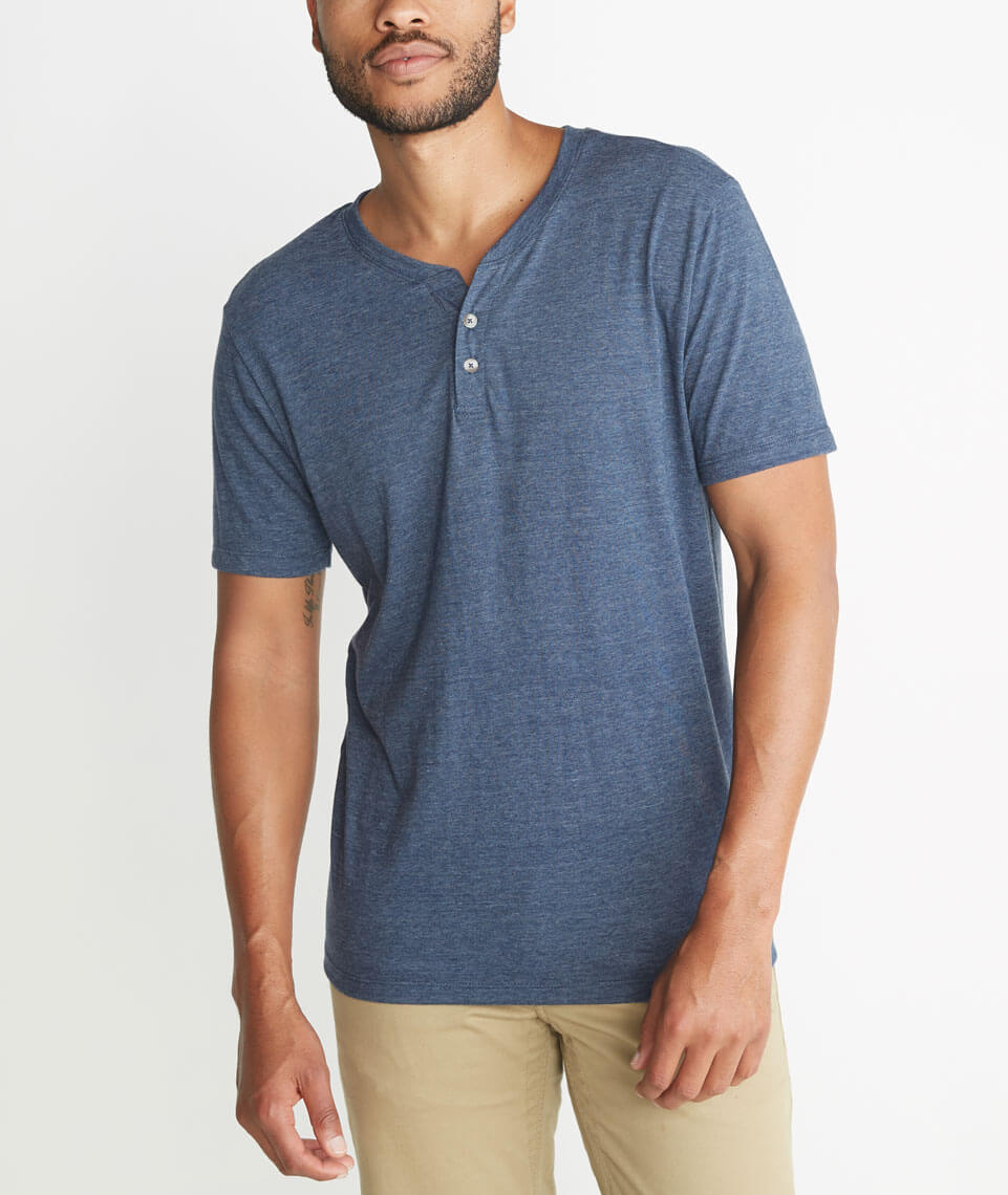 Shortsleeve Henley in Dark Denim