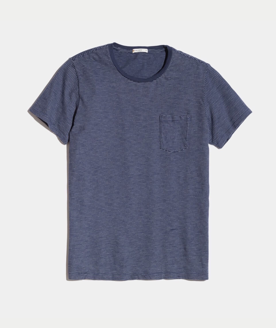 Signature Pocket Tee - Navy/White