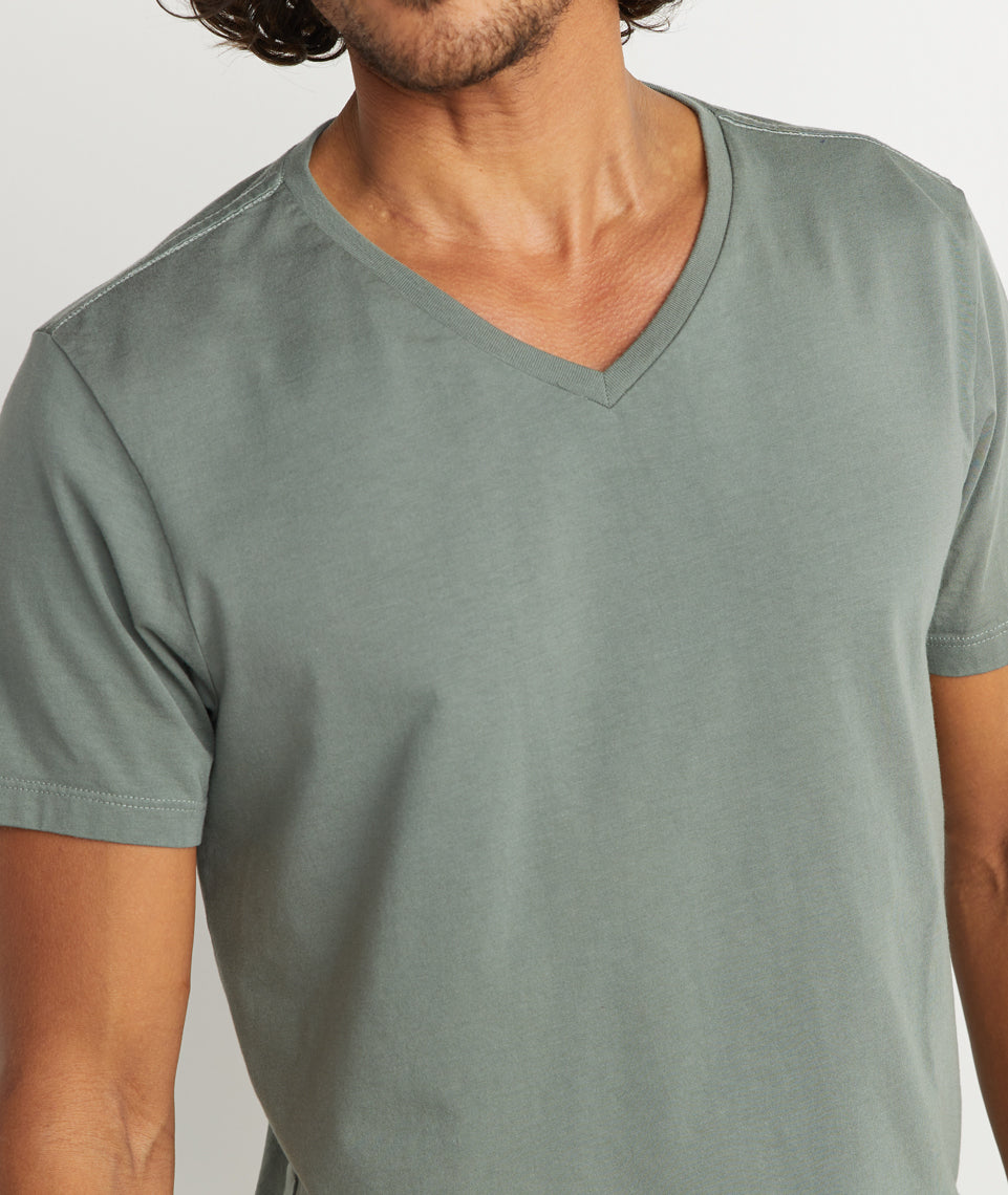 Signature V-Neck in Agave Green