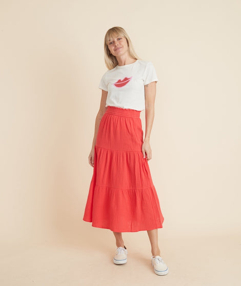 Corinne Maxi Skirt in Poppy Red