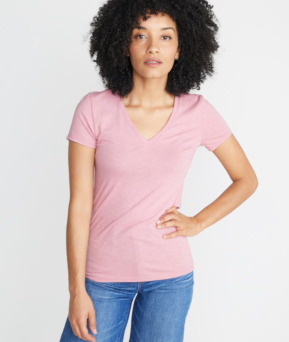 Slub V Neck in Dusty Rose