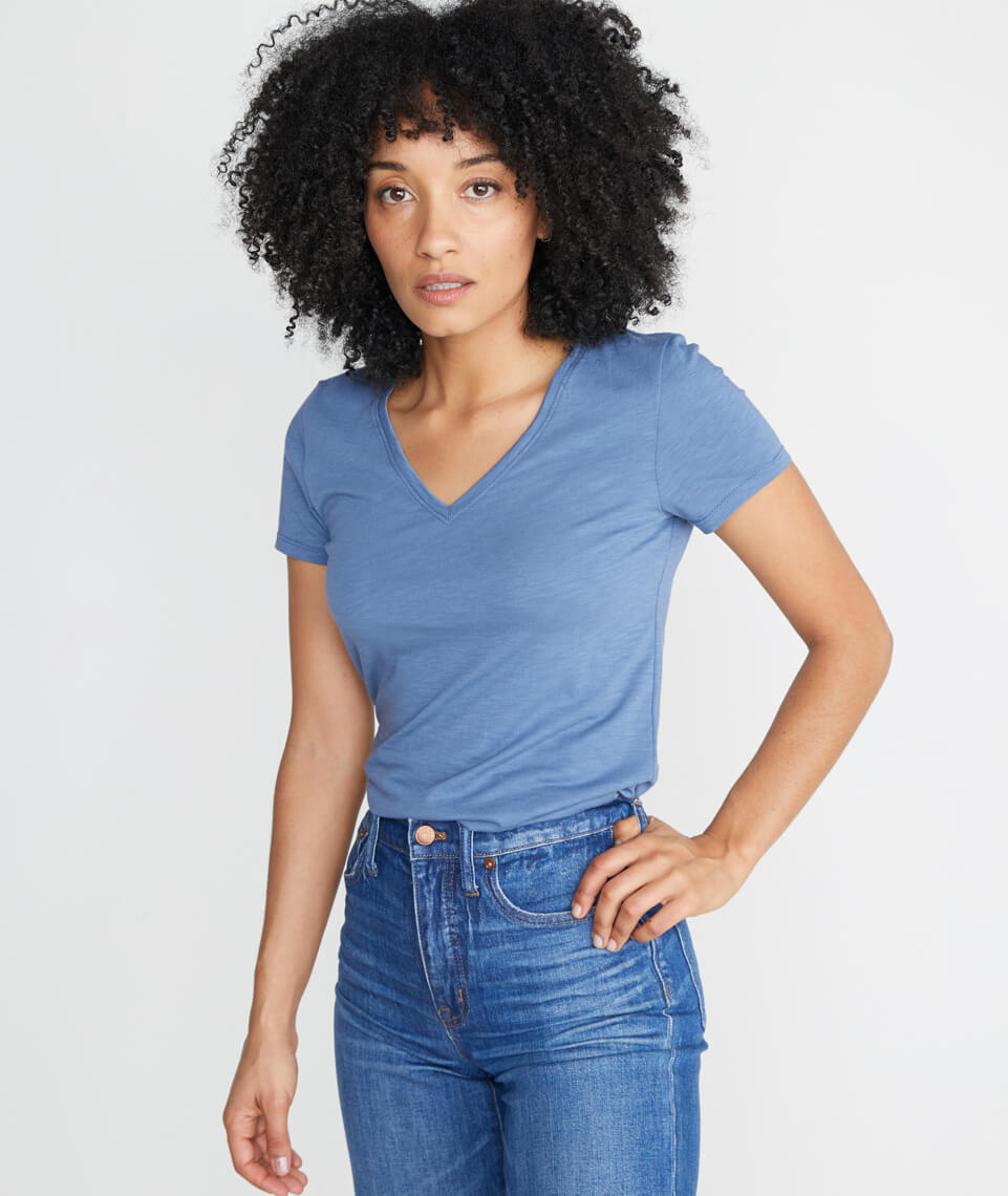 Slub V Neck in Vintage Indigo