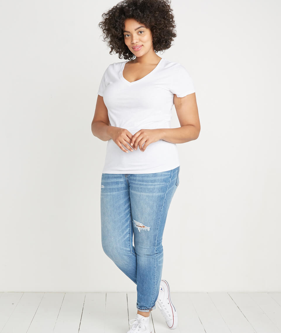 Slub V-neck Tee in Pure White