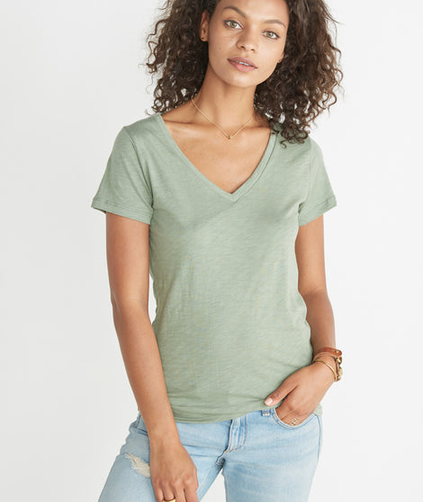 Slub V-Neck - Vintage Green