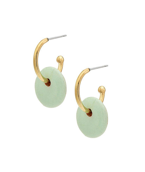 Soko Kazuri Mini Disc Hoops in Gold/Green