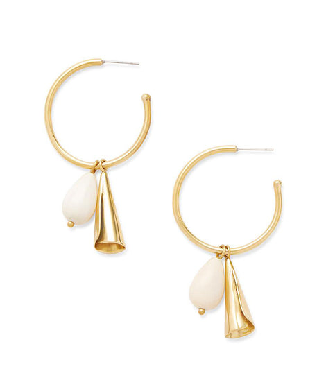 Soko Malindi Charm Hoop Earrings in Brass/White
