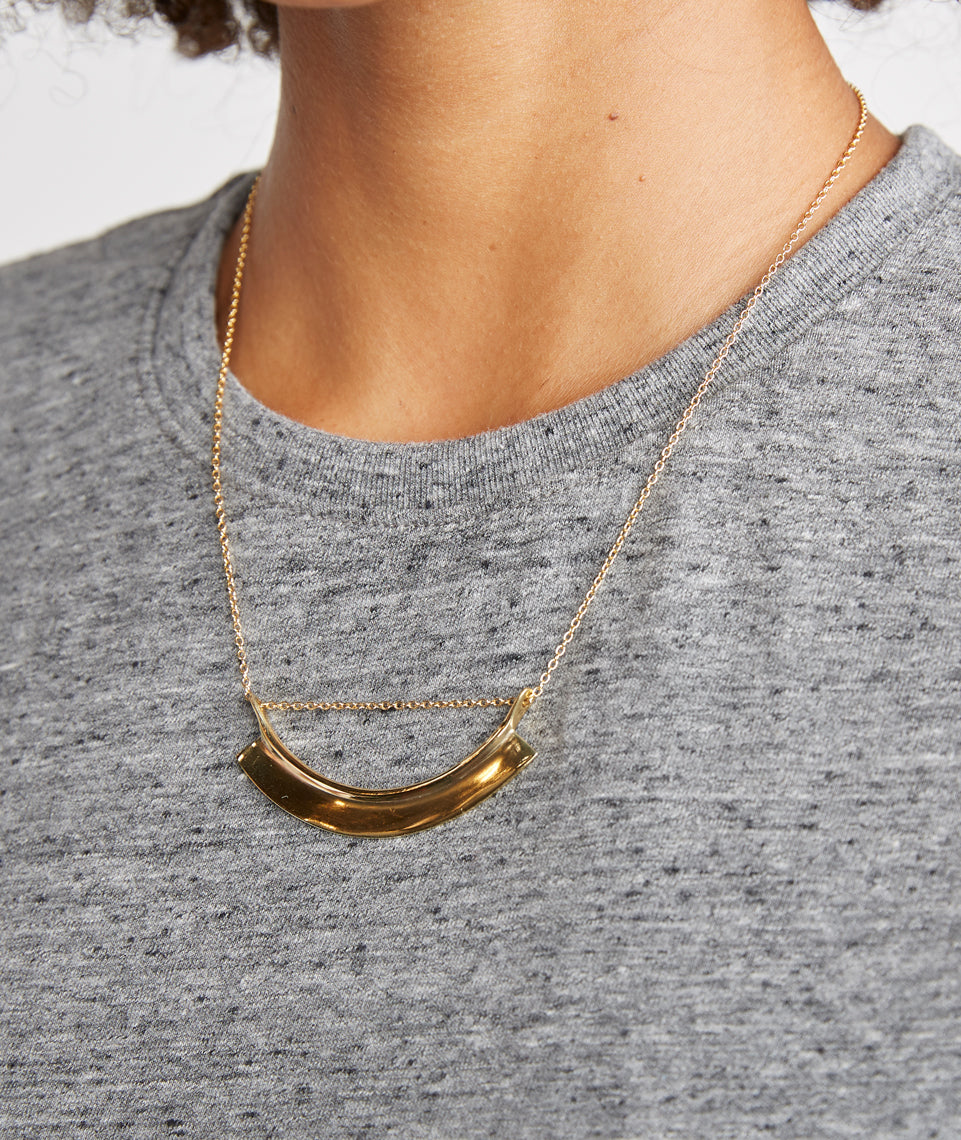 Soko Paddle Threaded Necklace - Brass