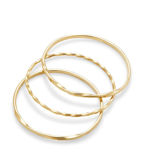 Soko Twist Stacked Bangles in Brass
