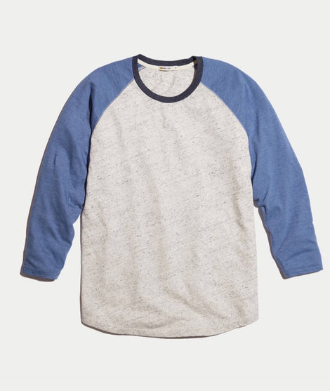 Baseball Raglan in Grey/Navy
