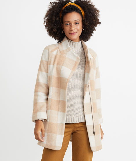 Stephanie Cocoon Coat in Cream/Tan