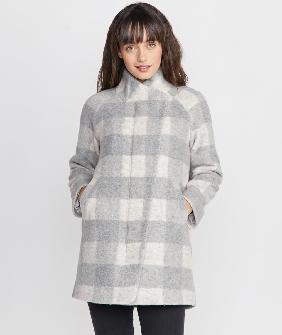 Stephanie Cocoon Coat in Buffalo Check