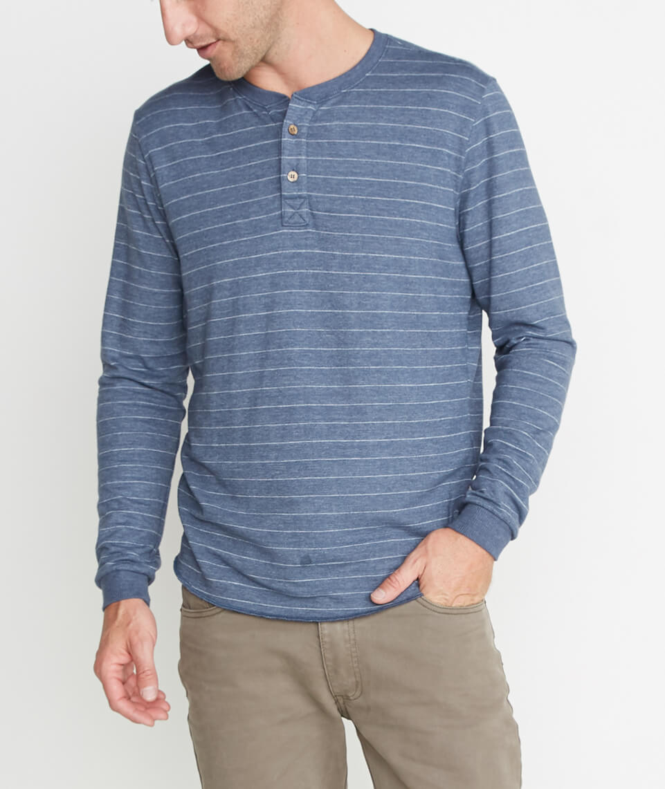 Double Knit Henley in Storm Blue