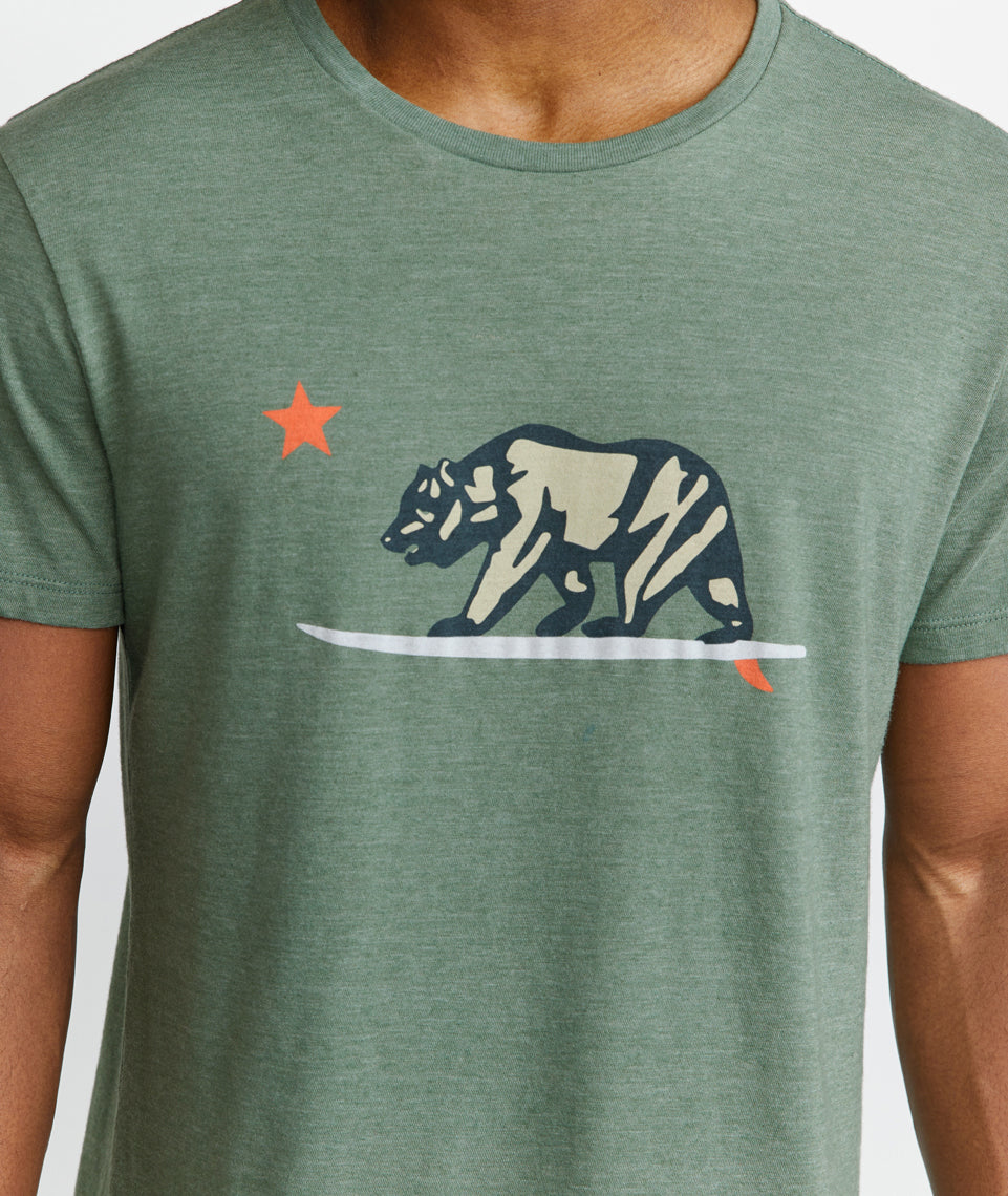 Surfing Bear Tee in Thyme