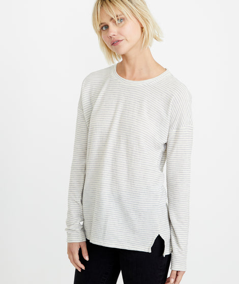 Suzanna Crew in Cream/Grey Stripe