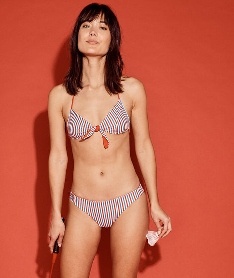 Bondi Bikini Top in Red/Patriot Stripe