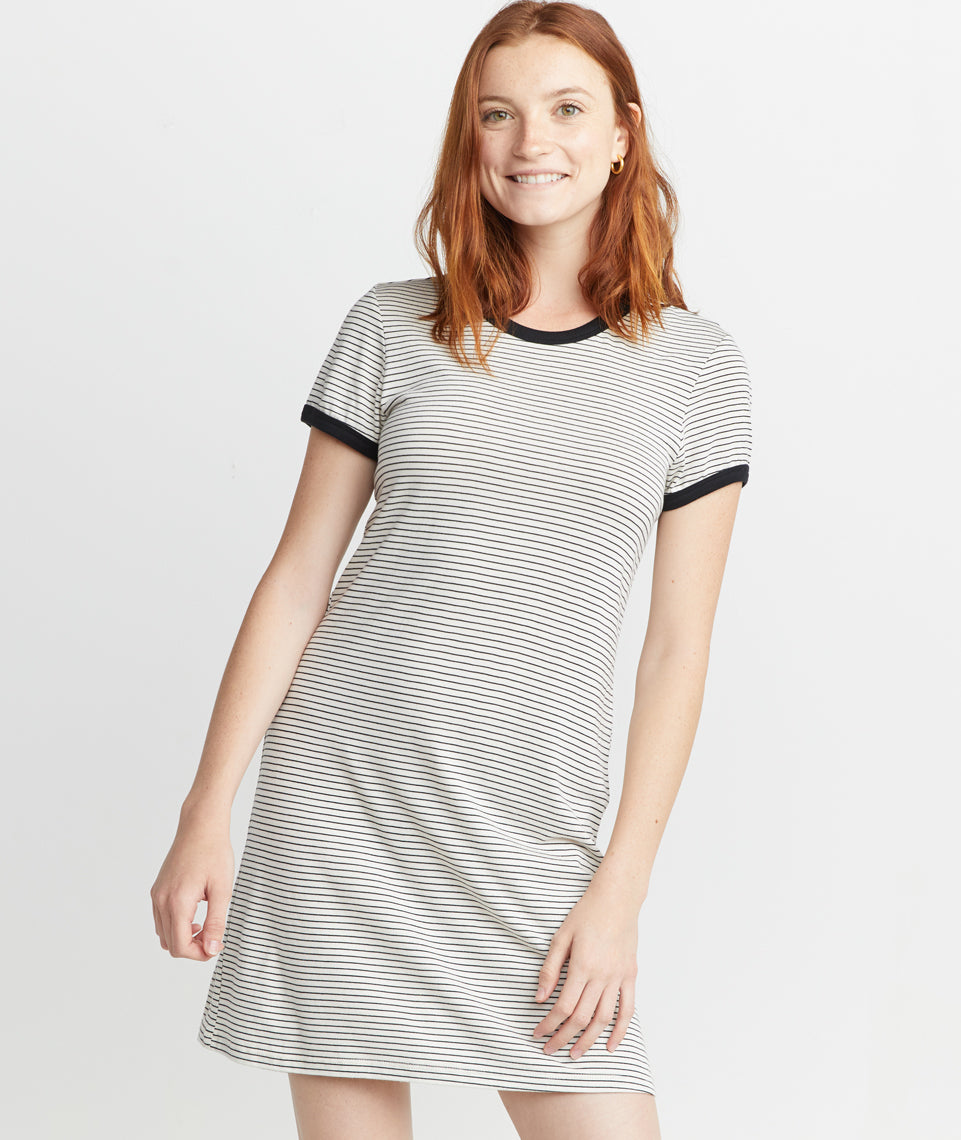 63d3eb50bb17 Reese T-Shirt Dress in Black White Stripe – Marine Layer
