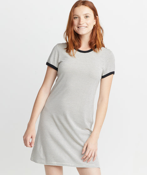 Reese T-Shirt Dress in Black/White Stripe
